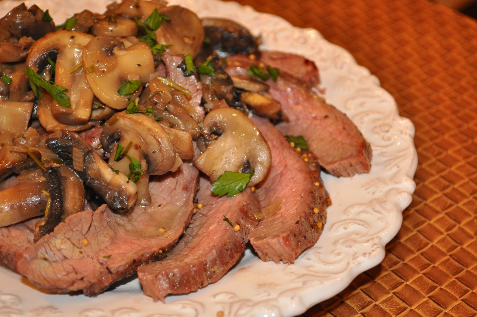 Grilled Flank Steak with Mushroom Sauce2-1/2 lb flank steak 1/2 cup ...