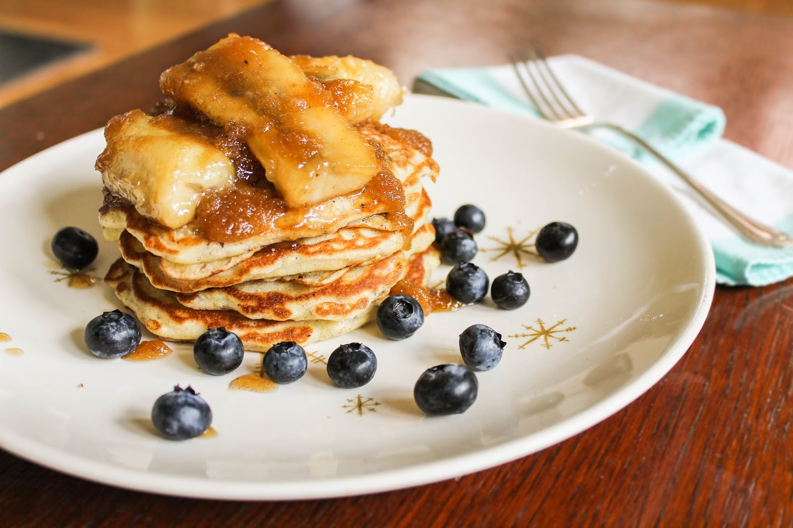 Blueberry Banana and Linseed Pancakes