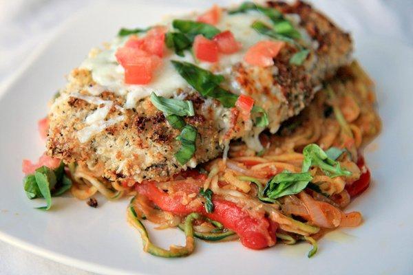 Chicken with Zucchini over Spaghetti Squash