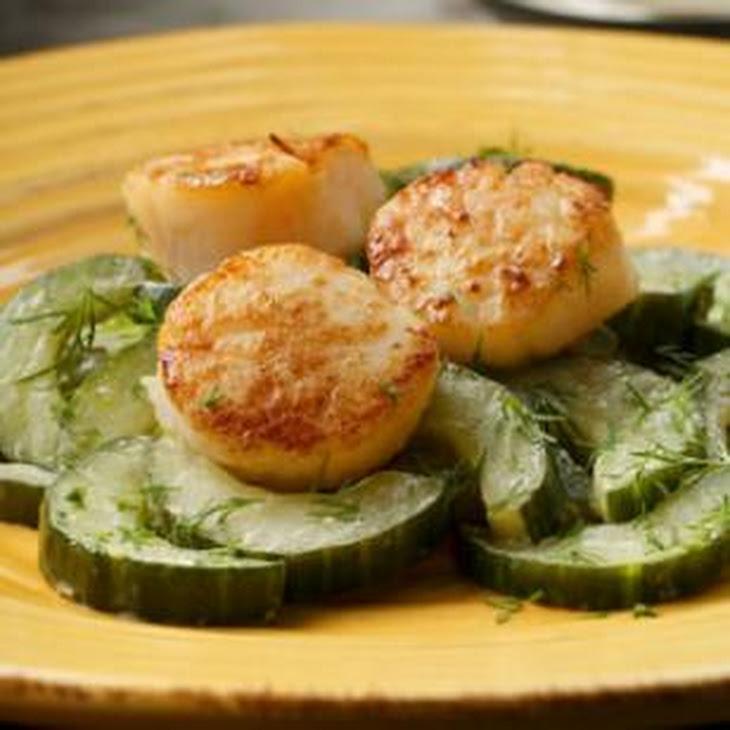 Seared Scallops with Sautéed Cucumbers